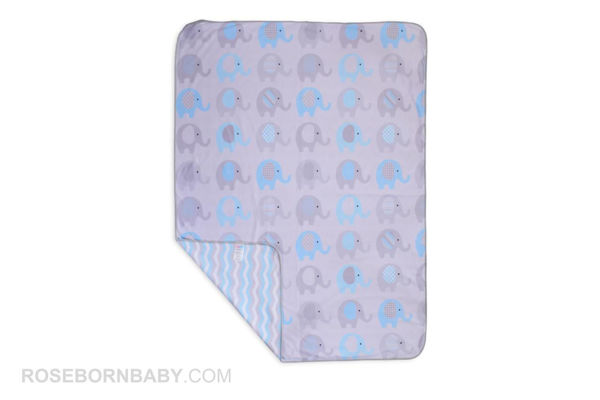 Picture of cotton swaddle blanket blue elephant