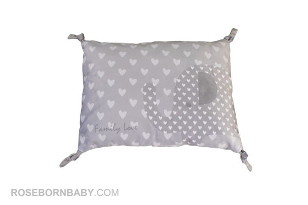 Picture of knot shape pillow family love gray