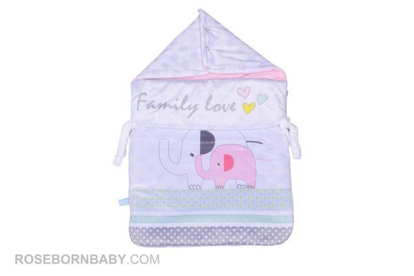 تصویر از قنداق فرنگی زیپ دار طرح FAMILY LOVE-GIRL