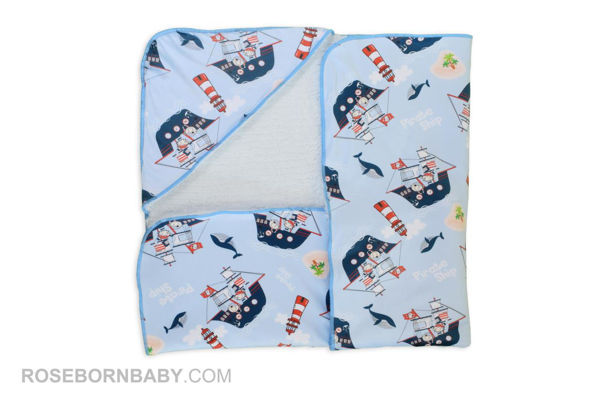 Picture of Hooded swaddle blanket pirate ship