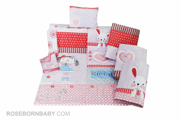 Picture of 7 pieces nursery bedding set cute girl