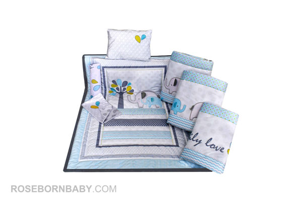 Picture of 7 pieces nursery bedding set family love boy