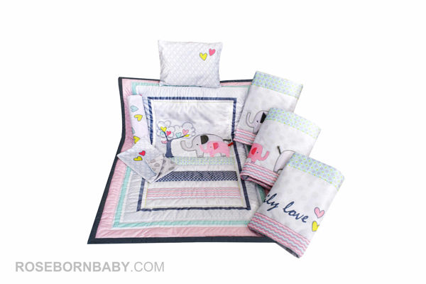 Picture of 7 pieces nursery bedding set family love girl