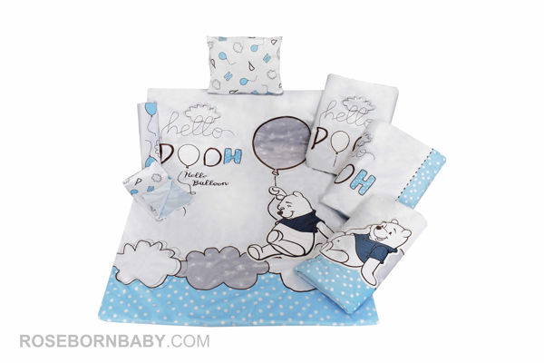 Picture of 7 pieces nursery bedding set hello pooh blue