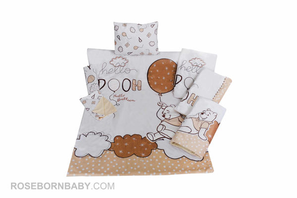 Picture of 7 pieces nursery bedding set hello pooh cream