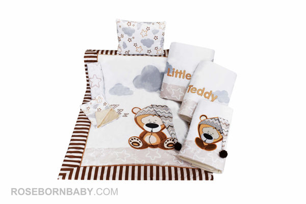 Picture of 7 pieces nursery bedding set lazy bear