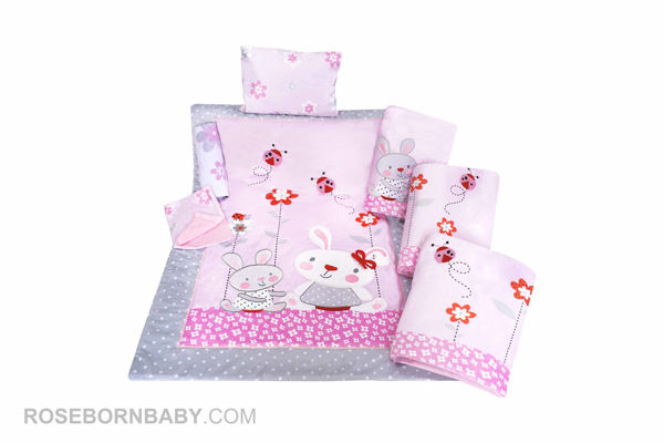 Picture of 7 pieces nursery bedding set little bunny