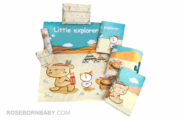 Picture of 7 pieces nursery bedding set little explorer boy