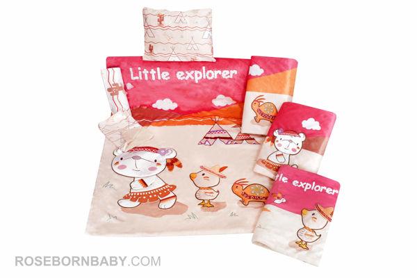 Picture of 7 pieces nursery bedding set little explorer girl