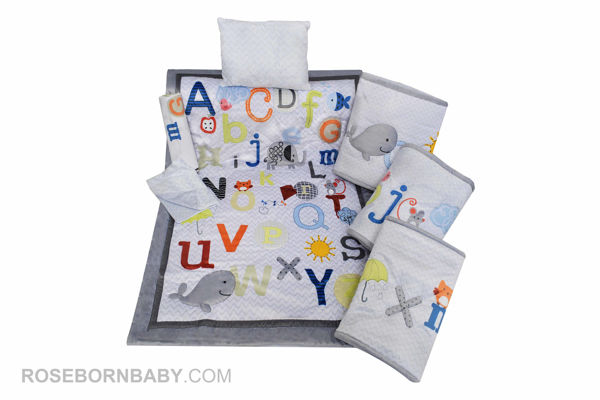 Picture of 7 pieces nursery bedding set magical alphabet