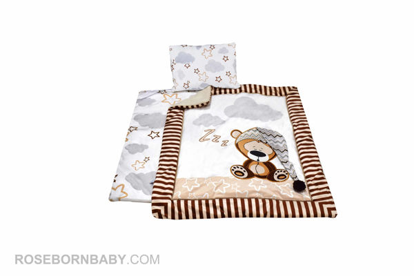 Picture of 3 pieces nursery crib set lazy bear