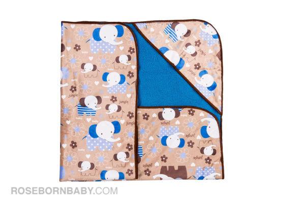 تصویر از پتو دورپیچ کلاه دار طرح فیل گوش آبی
