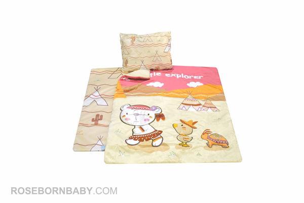Picture of 3 pieces nursery crib set little explorer girl