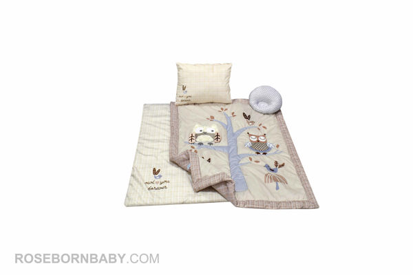 Picture of 4 pieces nursery crib set boofy owl