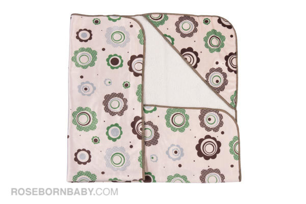 Picture of Hooded swaddle blanket green and brown flowers