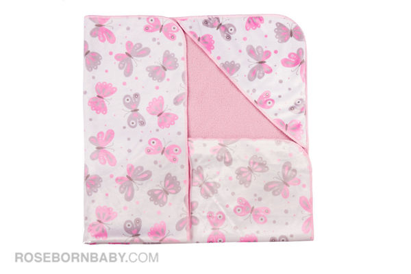 Picture of Hooded swaddle blanket gray and pink butterfly