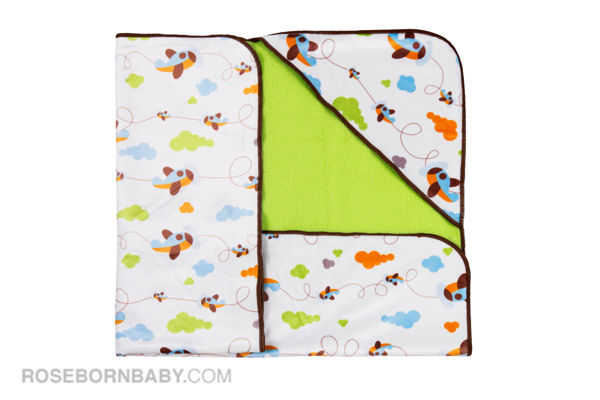 Picture of Hooded swaddle blanket clouds and planes