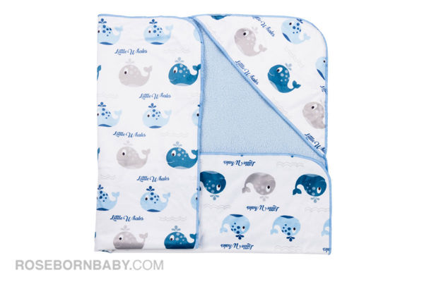 Picture of Hooded swaddle blanket Jade and gray whale